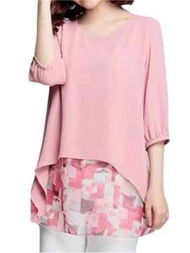 Stylish Double Layer Hem Blouse