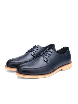 Pu Square Heel Lace Up Dress Shoes For Men