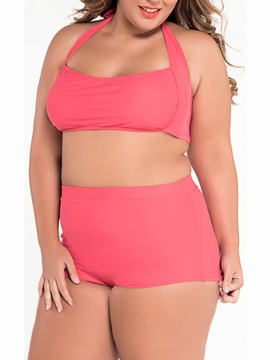 Plus Size Pink Hogh Waist Bikini Top And Bottom Swimwear