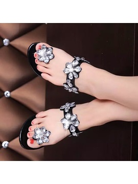Sweet Rhinestone Ring Toe Flat Sandals