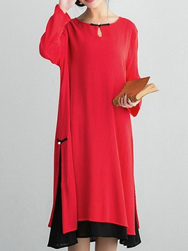 Ethnic Contrast Color Long Sleeve Shift Dress