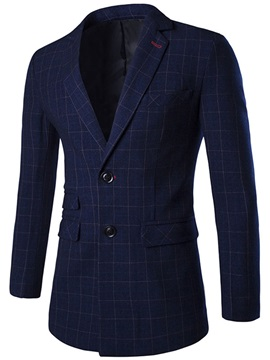 Middle Plaid Notched Collar Two Buttons Mens Blazer