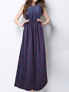 Floral Print Empire Waist Sleeveless Maxi Dress