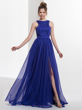 Casual Straps Pleats Split Front Long Prom Dress
