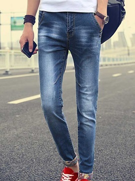 Slim Fit Long Legs Low Waist Mens Denim Pencil Pants