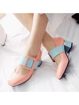 Color Block Chunky Heel Buckles Pumps
