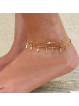 Leaf Shape Tassel Women Anklet