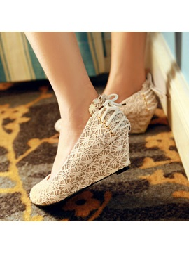 Sequins Round Toe Slip On Wedges