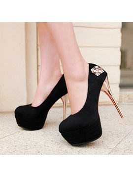 Suede Rhinestone Stiletto Heel Prom Shoes