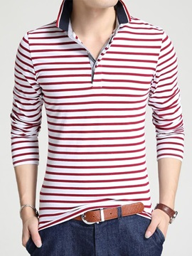 Cross Stripe Decorated Mens Pullover Polos