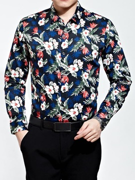 Floral Printed Single Breasted Mens Casual Shirt