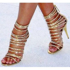 Sequins Strappy Covering Heel Sandals