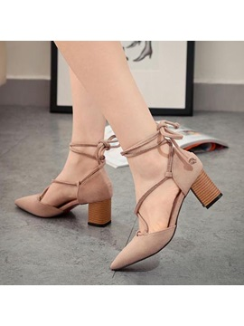 Suede Pointed Toe Chunky Heel Sandals