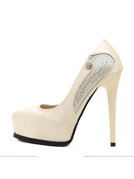 Rhinestone Satin Stiletto Heel Platform Prom Shoes