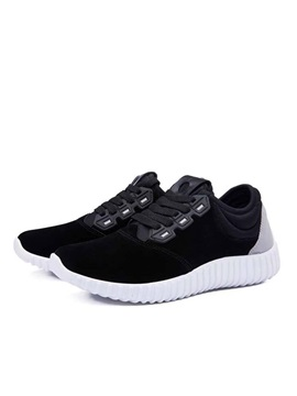Suede Patchwork Lace Up Front Running Shoes