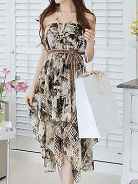 Chic Off The Shoulder Print Day Dress