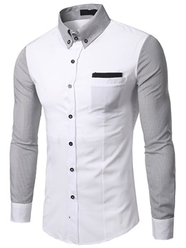 Color Block Chest Pocket Mens Casual Shirt