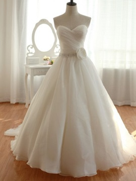 Ruched Sweetheart Beaded Waist A Line Wedding Dress
