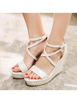 Pu Buckles Open Toe Wedge