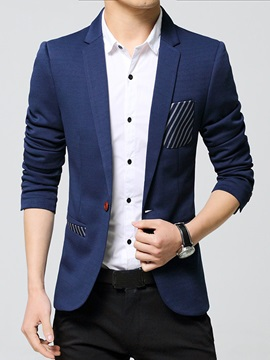 Oblique Line Decorated Pocket Mens Casual Blazer