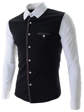 Color Block Artificial Silk Fabric Mens Casual Shirt