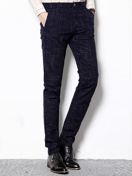 Irregular Stripe Printed Slim Fit Mens Casual Pants