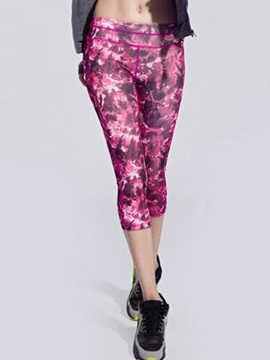 Floral Print Stretchy Women Yoga Tights