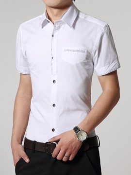 Chest Pocket Short Sleeve Mens Casual Shirt