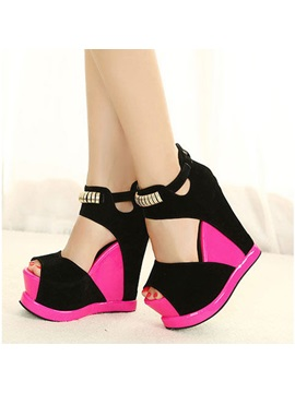 Color Block Back Zip Peep Toe Wedge Sandals