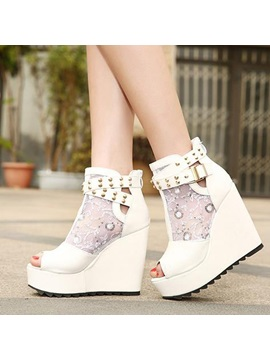 Rivets Lace Patchwork Wedge Sandals