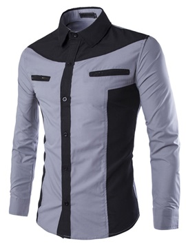 Color Block Lapel Chest Zip Design Mens Shirt