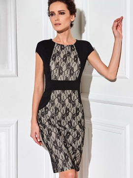 Chic Lace Patchwork Short Sleeve Work Bodycon Dress