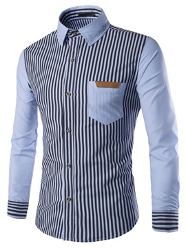 Vertical Stripe Block Front Pocket Mens Casual Shirt