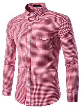 Mini Plaid Front Chest Single Breasted Mens Shirt