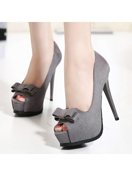 Bowtie Peep Toe Stiletto Heel Platform Pumps