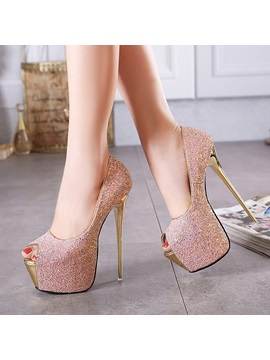 Colour Changing Sequins Peep Toe Prom Shoes