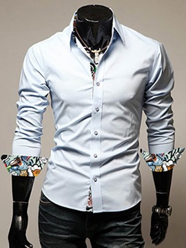 Printing Patched Single Breasted Mens Casual Shirt