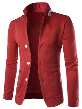Three Buttons Stand Collar Mens Casual Blazer