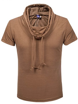 Solid Color Lace Up Heap Collar Mens Tee