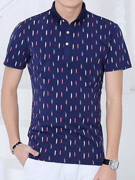 Colorful Printed Lapel Mens Short Sleeve Tee