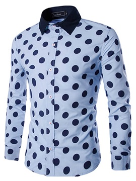 Contrast Color Dots Printed Single Breasted Mens Shirt