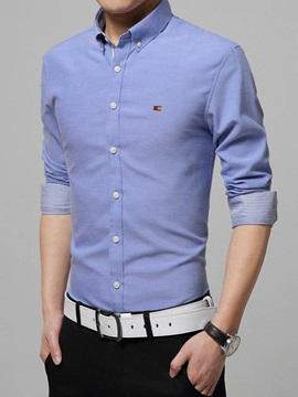 Solid Color Chest Logo Design Mens Casual Shirt