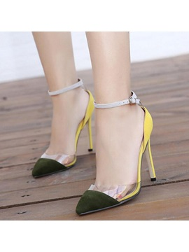 Pvc Patchwork Ankle Strap Stiletto Heel Sandals