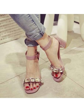 Sweet Crystal Open Toe Chunky Heel Sandals