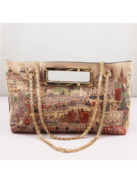 Vintage Style Chain Zipper Pattern Women Shoulder Bag