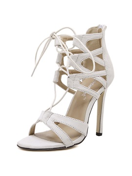 Pu Lace Up Stiletto Heel Sandals