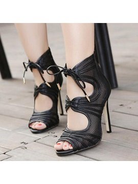 Mesh Patchwork Peep Toe Stiletto Heel Sandals