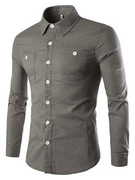 Chest Pockets Lapel Mens Casual Shirt