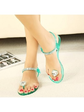 Crystal Beading Thong Flat Sandals