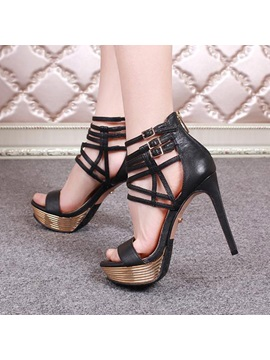 Pu Cut Out Stiletto Heel Sandals